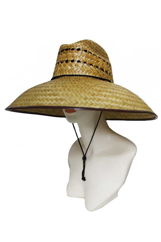 Brown Faux Leather Trimmed Downward Brim Outdoor Straw Hat