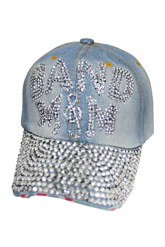 Band Mom denim Distressed Bling Bling Cap