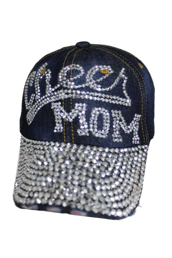 Cheer Mom Denim Bling Bling Caps