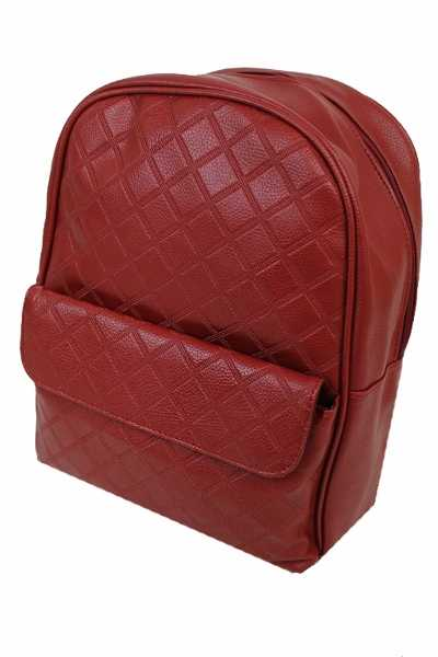 Diamond-quilted Zipper backpack