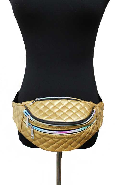 Quilted Stitched Metallic Gloss Fanny Pack Waist Bag