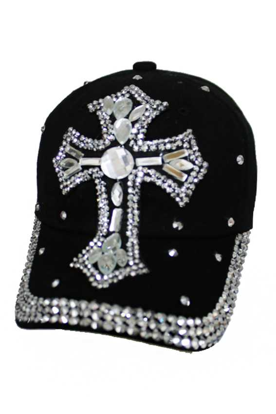 Oval chunky Clear Stone Embedded Cross Bling Bling Cap