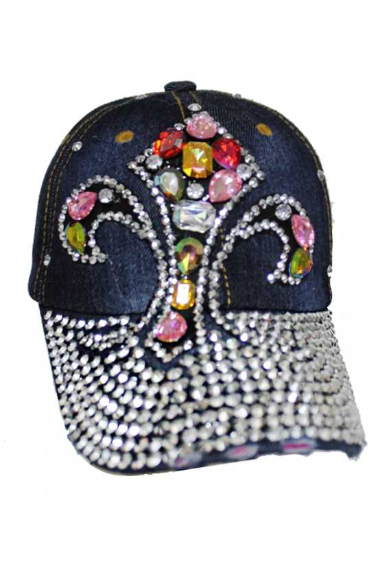 Colorful Bling Fleur De Lis Saint chunky Stone Denim Caps