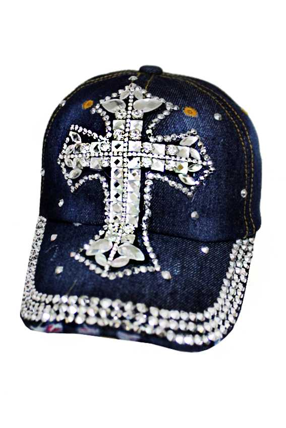 Chunky Extra Bling Bling Studs and Crystal Cross Distressed Denim Caps