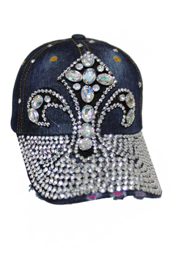 Fleur De Lis Saint Logo Ab Stone Crystal Bling Denim Distressed Cap
