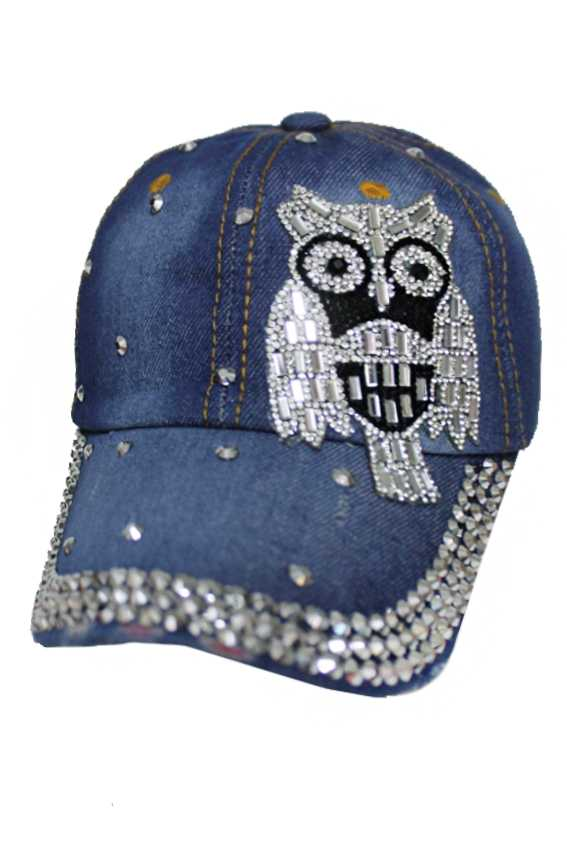 Forest Hills Night Owl Applique Bling Bling Denim Caps