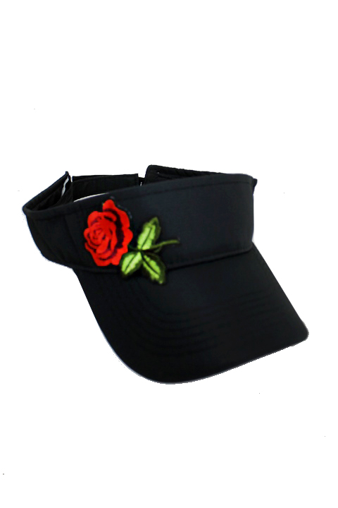 Enchanted Mini Rose Embroidered Patch Applique Athletic Wear Fashion Visor