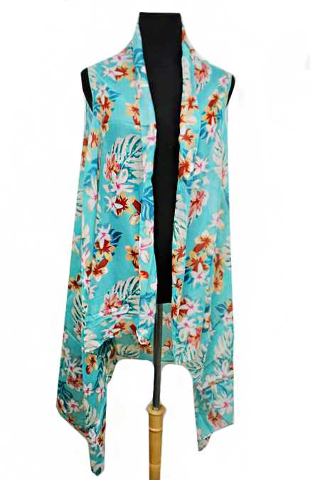 Ultimate Summer Florals Printed Softness Kimono Vest Cover Up