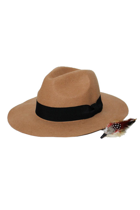 Wool Panama Style with Feather Design Unisex Hat