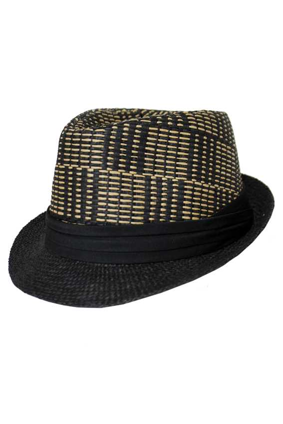 Abstract Stripe Knit Two Tone Straw Fedora with Black Band