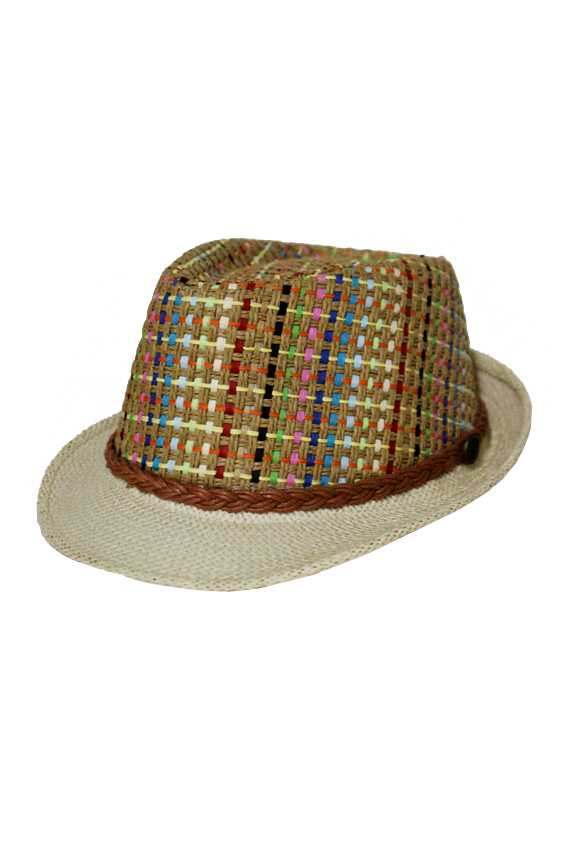 Modern Colorful Straw Weave Twist Braid Classic Fedora Hat