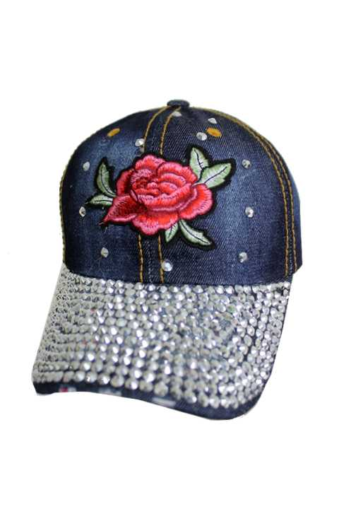 Centered Embroidered Red Blossomed Flower Bling Bling Denim Cap