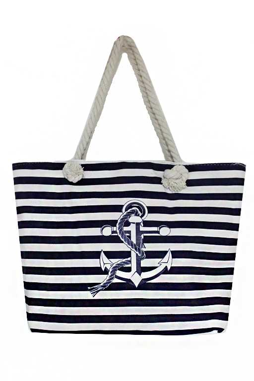 Anchor Voyage Striped Canvas Printed rope Tied Tote Bag