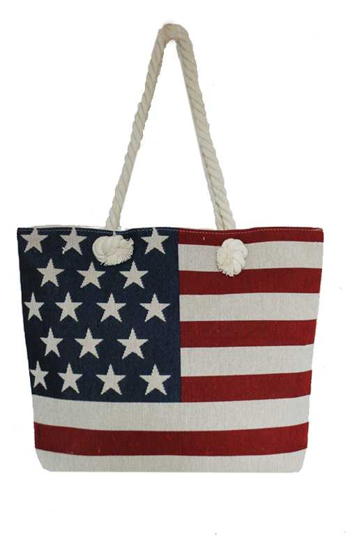 Dark Washed Vintage Canvas American Flag Tote
