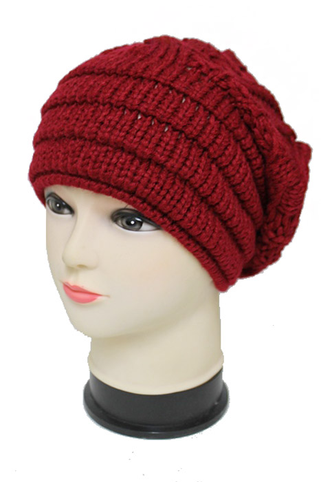 Wide Knit Cable Pattern Semi Slouched Fashion Softness Beanie