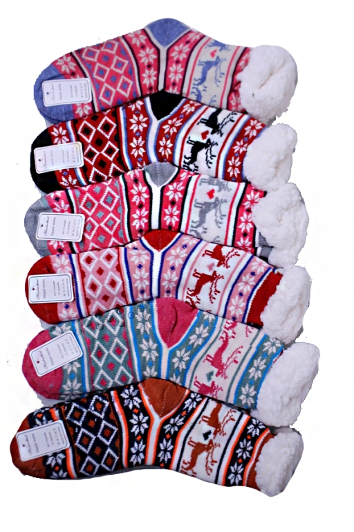 Women's Snowflake and Reindeer Patterned Winter Fleece Socks
