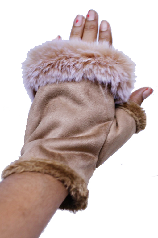 Finger Less Suede Felt Corset Elastic Faux Fur Trimmed Hand Gloves