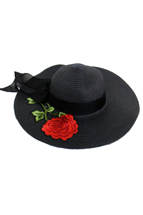 Floppy Cotton Ribbon Blossomed Red Peony Stem Patch Fashion sunhat