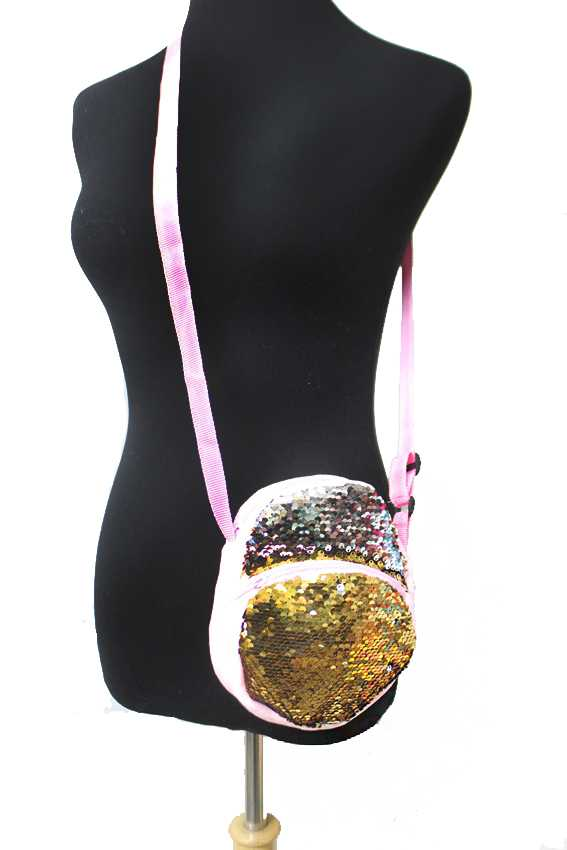 Petite Double Colored Sequin Plush Double Pocket Side Bag