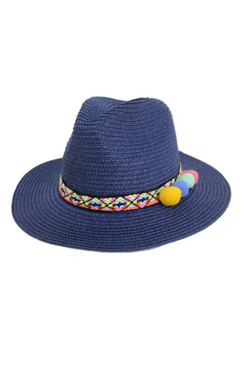 Colorful Tribal Exotic Band With Over sized Pom Pom Panama Hat