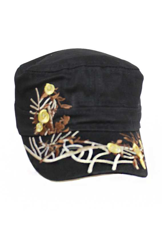 Floral Gold Yellow Stitching Cadet Cap