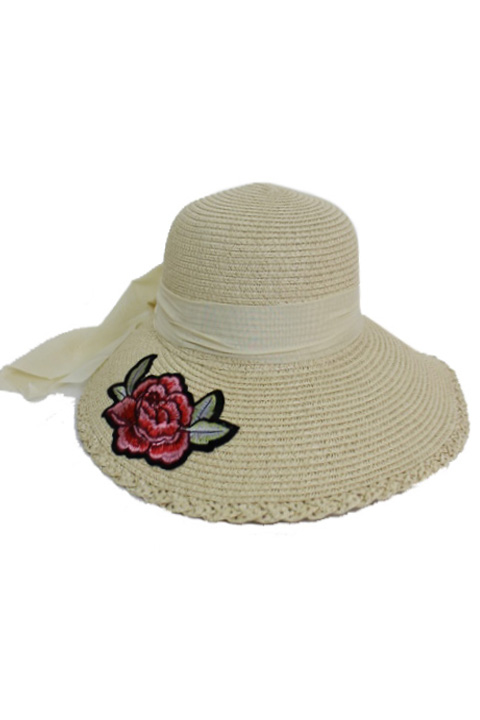Twill Twist Edge Chiffon And Peony Patched Visor Brimmed Sun Hat
