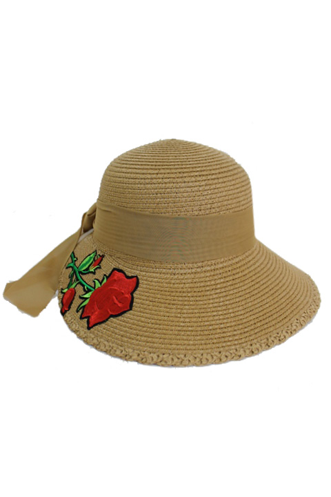 Red Rose Patched Visor Brim Styled Sun Hat