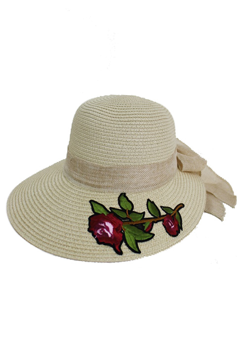 Deep Burnt Red Orchid Floral Patch Visor Styled sun Hat