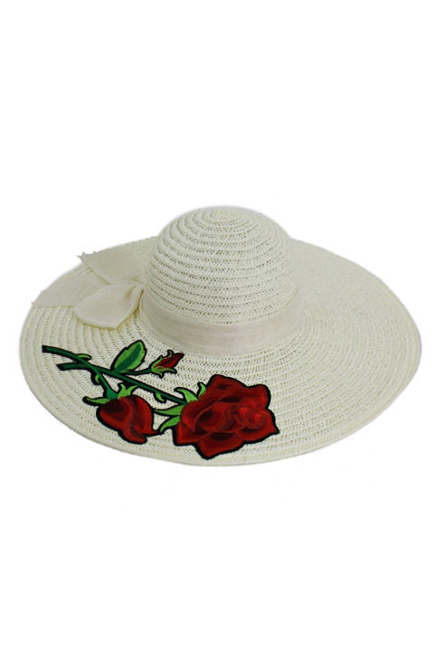 Textured Sunhat With Cotton Same Tone Band Red Rose Applique Floppy Sun Hat