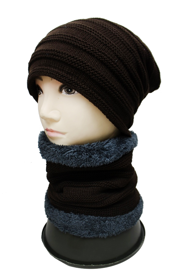 Unisex Striped Two Set Beanie with Neck Warmer