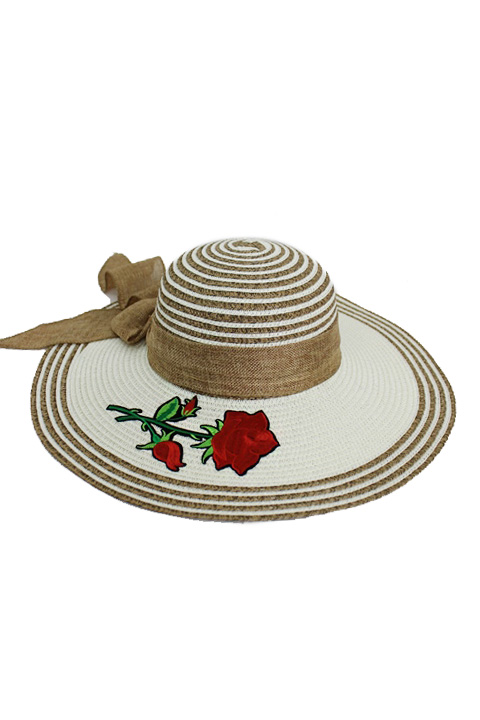 Stripe Crown And Brim Fashion Floppy Red Rose Applique Fashion Floppy Sun Hat