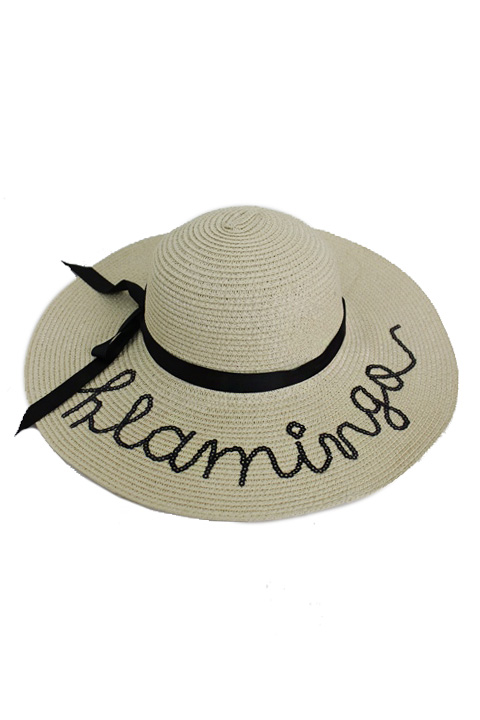 Flamingo Sequin Lettering Floppy Fashion Sun Hat