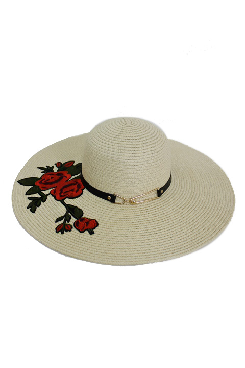 Gold Buckled Bright Red Spring Floral Applique Fashion Floppy Hat