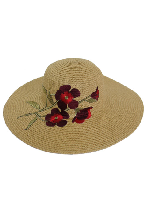 Strip Of Orchid Petal Blossoms Applique Floppy Sunhat