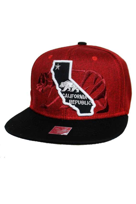 California Republic with California State Map Design fashion Snap Back