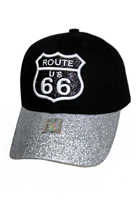 Route 66 with Bling Bling Metallic Glitter Fashion baseball cap