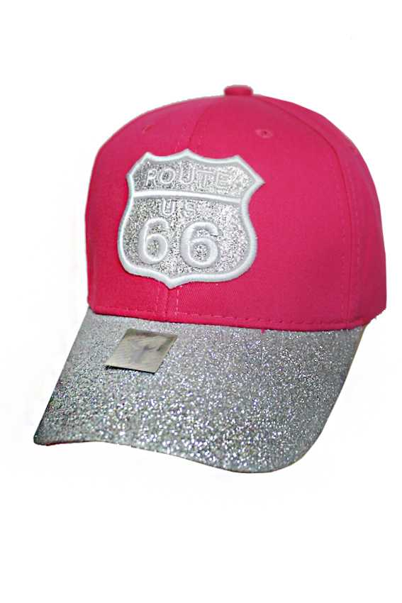 Route 66 with Bling Bling Metallic Glitter Fashion baseball cap 7339a88b608