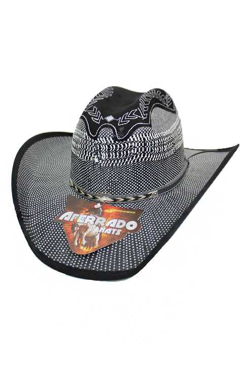 Classic Western Black White Studded Leather Like Band Cowboy Hat