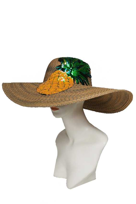 Large Colorful Full Sequin Pineapple Applique On Multi Toned Floppy Sun Hat