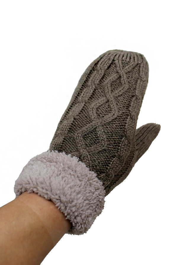 Mittens with Faux Fur Cuffed Trim