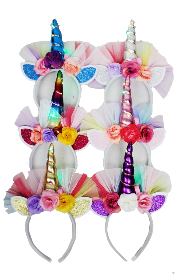 Unicorn Big Horn on Light Three Option Headband With Flowers Mesh