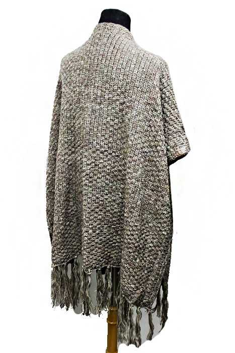 Knitting Pattern Long Vest : Pocketed Thick Knit Long Vest styled Poncho Mixed Grain ...