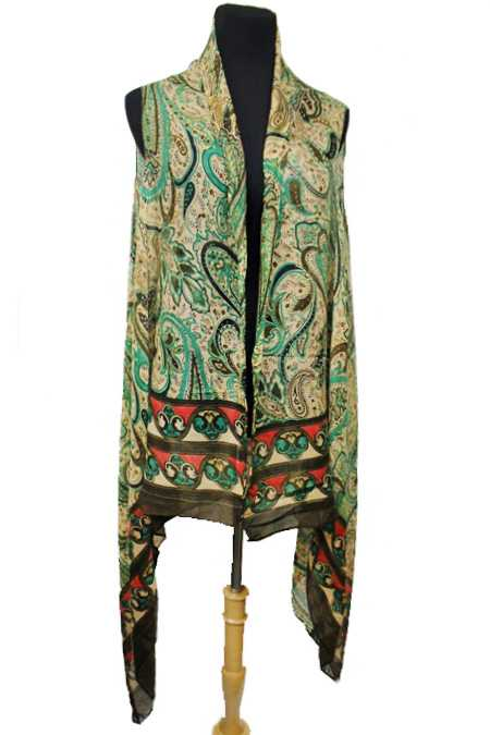 Mosaic Paisley Earth Toned Softness Kimono Vest Cover Up