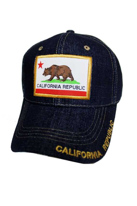 California Republic Cotton Stitch Patch Denim Washing Caps