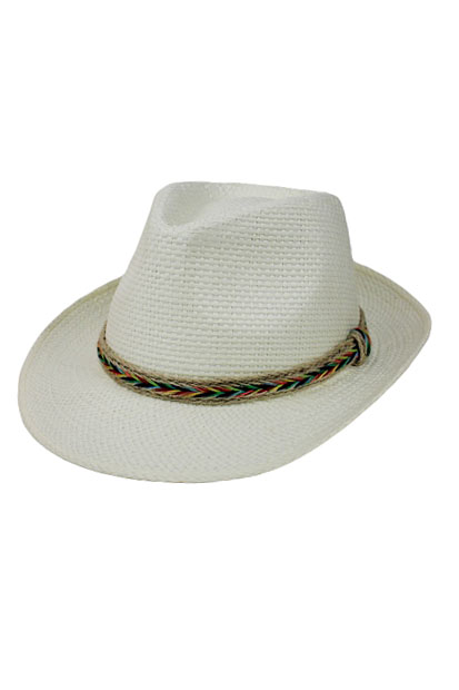 Rainbow Straw Color Band Panama Style hat