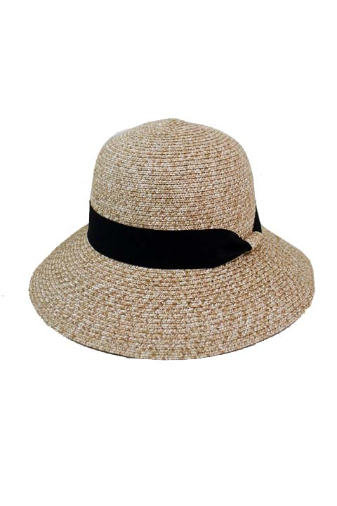 Mix Tone Softness Thick Toyo Straw Bucket Style with Band Bow Hat