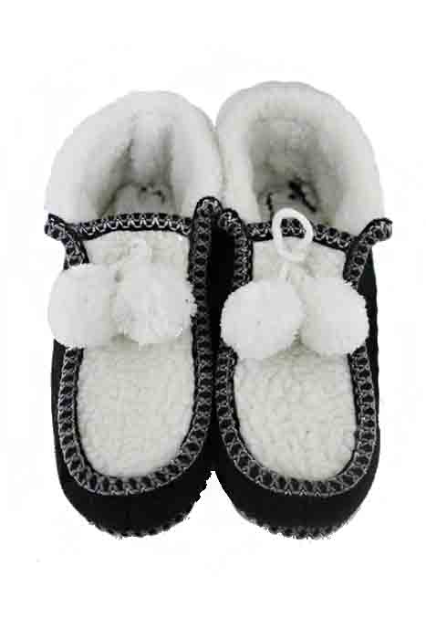 Pom Pom Basic Print Felt Goat Fur Trimmed Warm Winter Unisex Slippers