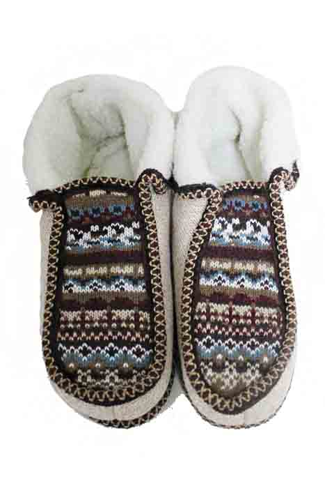 Festive Winter Printed Goat Fur Trimmed Warm Winter Women Slippers