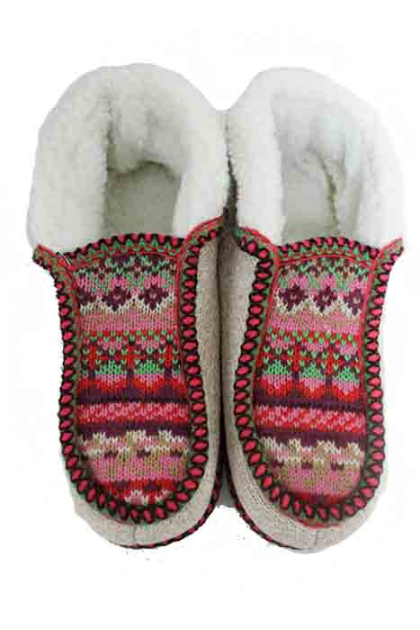 Unisex Larger Sized Printed Western Printed Fur Trimmed Warm Winter Slippers