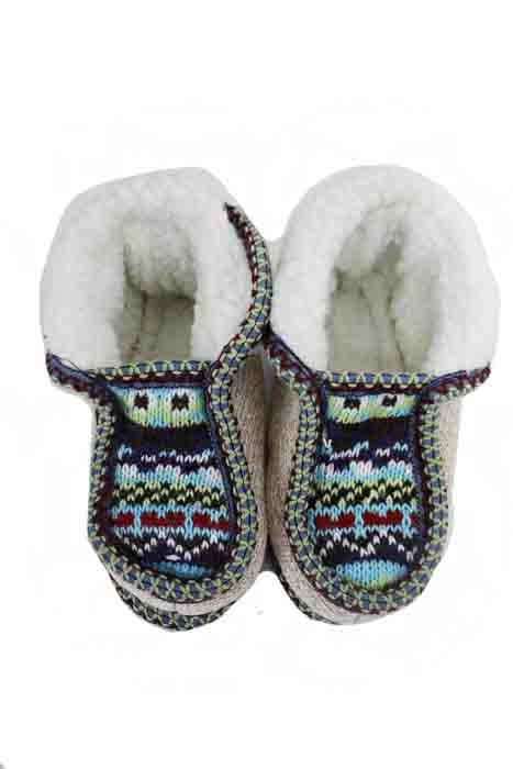 Kid Size Earth Toned Printed Fur Trimmed Warm Winter Slippers